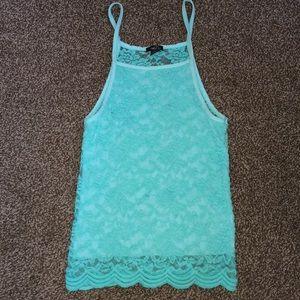 aqua blue lace halter top
